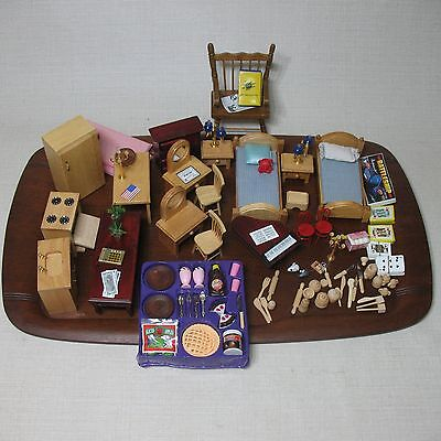 Doll House Lot Assorted Miniature Items Kitchen Lamps Piano Chairs Tables +++