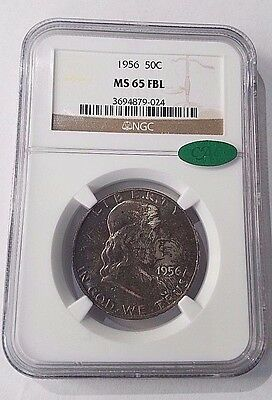 1956 Franklin Silver Half Dollar certified MS 65 FBL by NGC and CAC Free Ship!