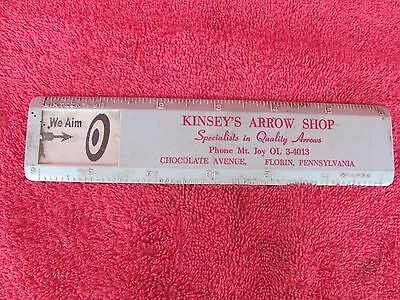 Old Vintage Advertising Ruler from Kinsey's Arrow Shop Florin PA. Aim To PLease