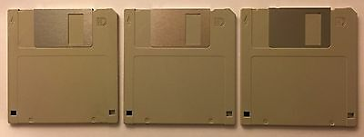"""Three 3.5"""" 1.44MB formatted HD floppy disks"""