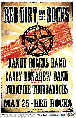RED DIRT ON THE ROCKS w RANDY ROGERS BAND 2014 Red Rocks 11x17 Flyer /Gig Poster