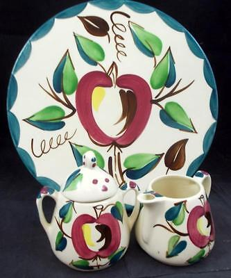 Purinton APPLE Chop Plate, Creamer & Sugar Bowl with Lid GOOD CONDITION