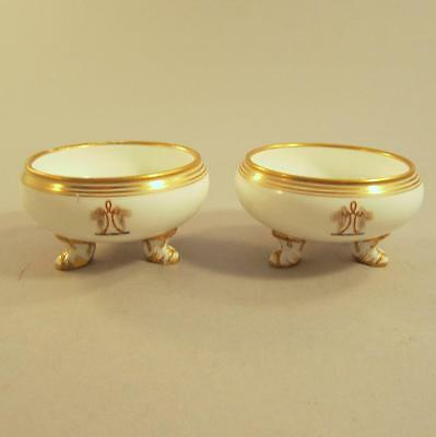 Pair English Porcelain Armorial Open Salts Mid 19th c. Wings Rope Baton
