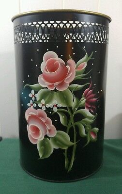 Vintage round Tole Ware Hand Painted Rose Design Tin Trash Can Wastebasket