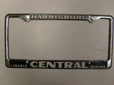 central lincoln mercury license plate frame holder tag embossed metal vintage pa