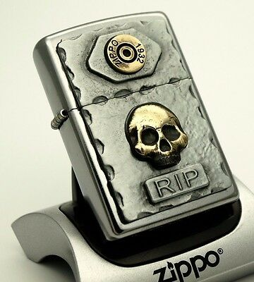 ZIPPO Lighter BULLET & SKULL - GOTHIC RIP GOLD and CHROME ZIPPOS ZIPO ZIPOS
