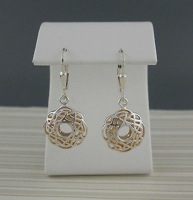 Sterling Silver CELTIC KNOT EARRINGS Keith Jack Window to the Soul GOLD GILDING