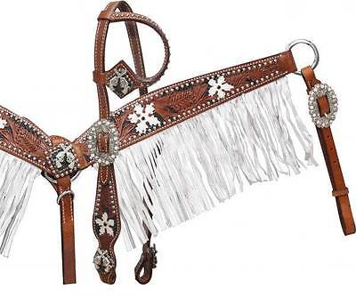 Showman headstall and breast collar set with white fringe! NEW HORSE TACK!