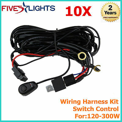 10pcs Wiring Harness Kit 40A 14V ON OFF Switch Relay For 120-300W LED Light Bar