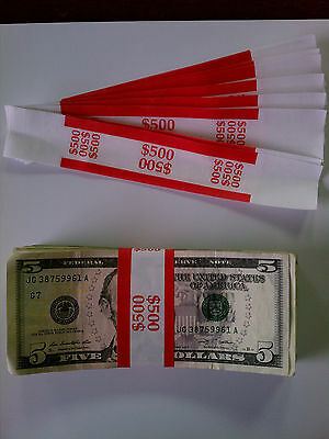 25 - New Self-Sealing Currency Bands - $500 Denomination - Straps Money Fives