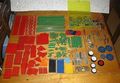 Vintage Huge Lot of Meccano Parts 350 Pcs. And More  FREE SHIPPING