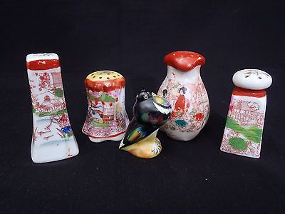Antique/Vintage Japanese 5 hand painted porcelain shakers