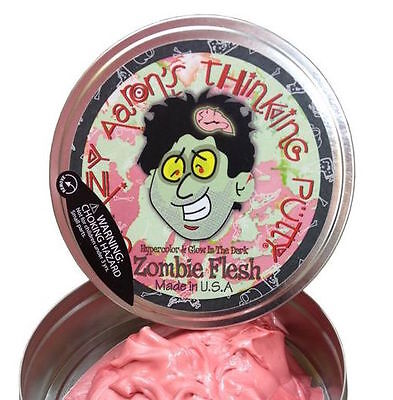 """Crazy Aaron's Thinking Putty Zombie Flesh Hypercolor Glow New 2"""" Small Tin"""