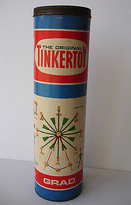 Vintage Tinkertoy No. 146 GRAD in Original Canister 107 Pieces Incomplete