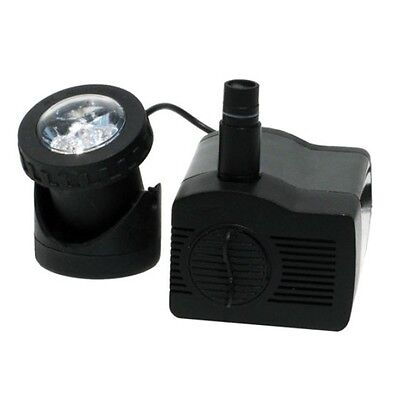 Low Water Auto Shut-Off Fountain Pump with Light 170-300 GPH Water Gardening