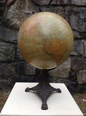 "1910s ANTIQUE Rand McNally 12"" TERRESTRIAL World Globe on tripod stand Pre-1914"
