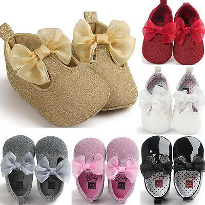 Baby Soft Sole Leather Crib Shoes Newborn Girls Toddler Moccasin Prewalker 0-18M