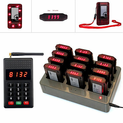 Restaurant Wireless Paging System Keypad Transmitter &12 Pagers Chargeable Best