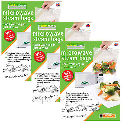 Microwave Oven Vegetable Steam Bags Quick Veg Steaming Quickasteam Medium x 90
