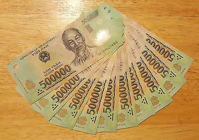 5 MILLION DONG = 10 x 500,000 500000 VIETNAM POLYMER CURRENCY BANKNOTES