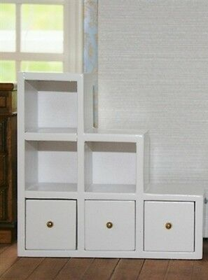White Modern Shelf Unit With Drawers, RS Doll House Furniture 1.12 Scale