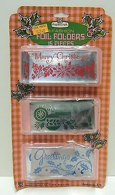 Vintage 1970s CHRISTMAS FOIL TAG FOLDERS - In opened package