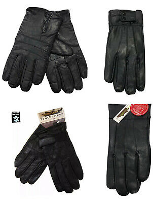 Mens Black Genuine Leather Touch Screen Thermal Insulated Fleece Lined Gloves