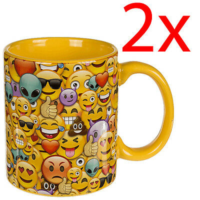 2 X Funny Emoji Coffee Tea Mug Cup Novelty Gift Kitchen Drinking Faces Gift New