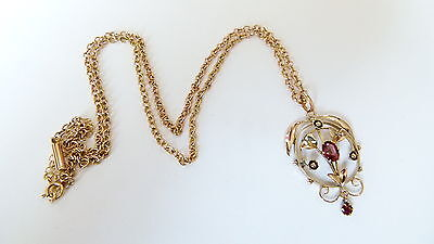 "Vintage Art Nouveau Rose Gold and Ruby Pendant and 18"" Chain"