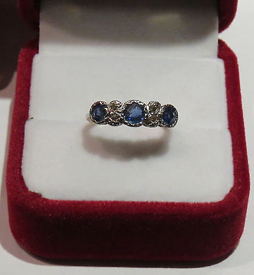 18Ct Gold/plat. Superb Sapphire And Diamond Ring In Vintage Setting-Size J