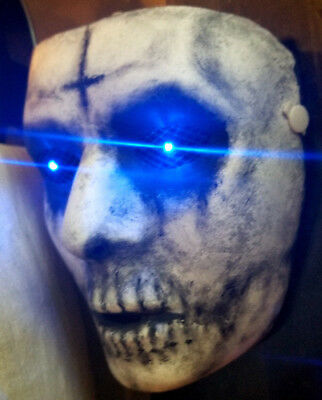 The Purge Anarchy Custom Painted Mask with Blue LED Eyes Handmade Prop Costume