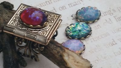 Book Locket Ring with Dragon's Breath Opal or choice of collectible stone opens