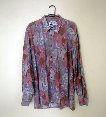80s / 90s Vintage Abstract Print Festival Long Sleeve Shirt: Size M / L