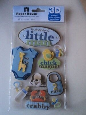 Paper House Mommy's Little Man 3D Stickers Bnip *new*
