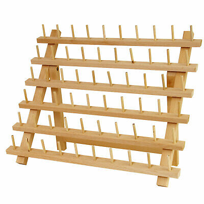 Premium Beechwood 60-Spool Sewing & Embroidery Thread Rack Stand