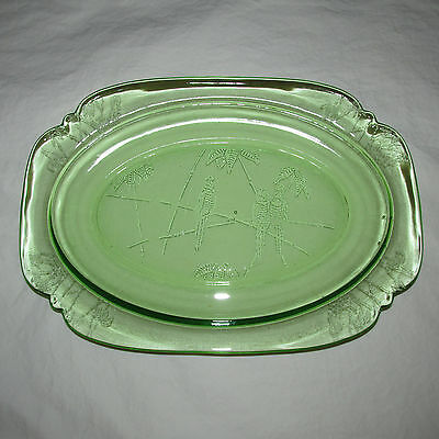Federal Glass Parrot Sylvan Vintage Collectible Rare Oval Platter Serving Plate