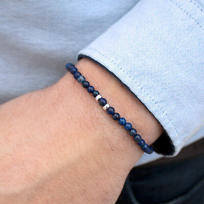 MEGBERRY Mens Beaded Bracelet - 925 Sterling Silver & Dark Blue Lapis Lazuli