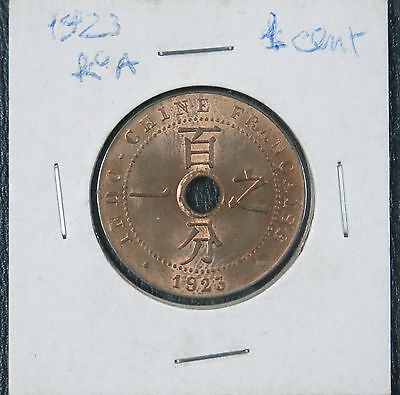 French Indochine 1923 Cent KM# 12.3. High Grade UNC