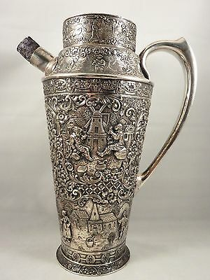 Antique BARBOUR SILVER PLATE REPOUSSE ART MARTINI SHAKER Hammered Cocktail Mixer