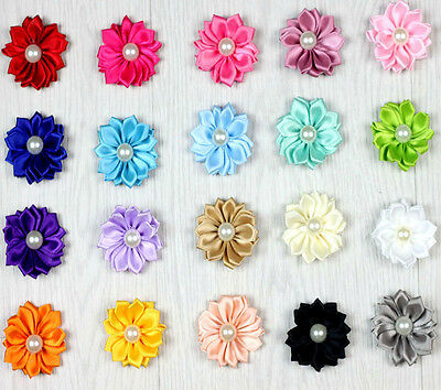 Hot 10PCS Satin Ribbon Flowers with Pearl Appliques Sewing DIY Craft Wedding