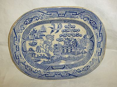 Antique Early 19C Staffordshire Blue & White Willow Pattern Serving Dish Platter