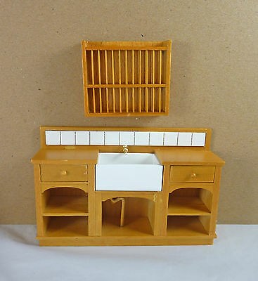 Dollhouse Miniature Medium Euro Country Kitchen Sink & Plate Rack Set, J31025GO