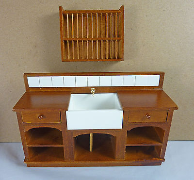 Dollhouse Miniature Medium Euro Country Kitchen Sink & Plate Rack Set, J31025WN