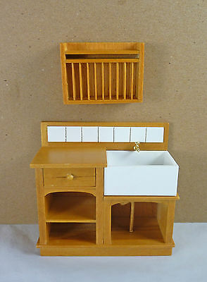 Dollhouse Miniature Small Euro Country Kitchen Sink & Plate Rack Set, J31022GO