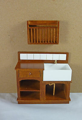 Dollhouse Miniature Small Euro Country Kitchen Sink & Plate Rack Set, J31022WN