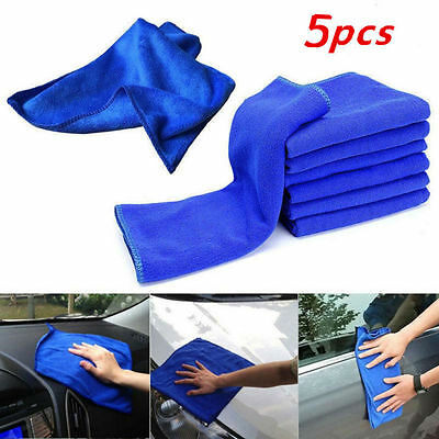 5x 11.8'' x 11.8'' Car Absorbent Microfiber Cleaning Detailing Blue Wash Towel