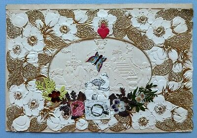 Beautiful Victorian Valentine Double Lace Paper Card With Colourful Butterfly