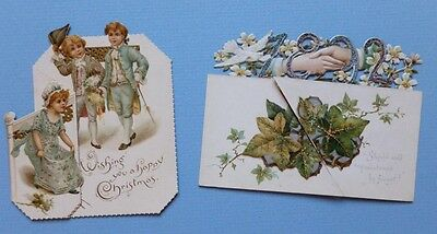 TWO FOLDING VICTORIAN GREETING CARDS - Christmas with Children & New Year 1892