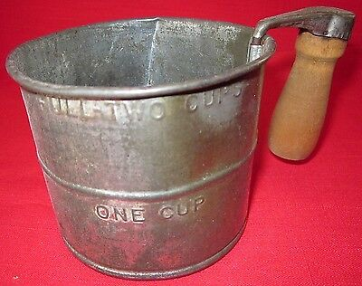 Vintage 2 Cup Metal Sifter With Wooden Handle
