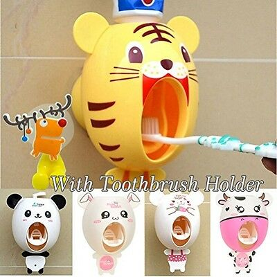 Lexitek Baby Toothbrush Dispensers,kids Hands Free Automatic Toothpaste Cartoon